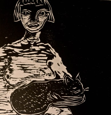 woodcut of woman and cat