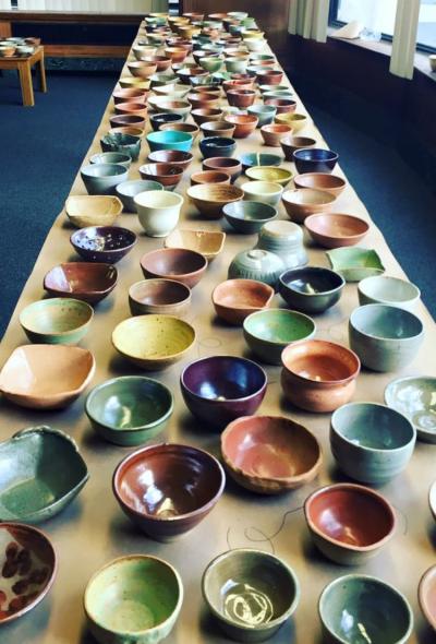 ceramic bowls at First Friday