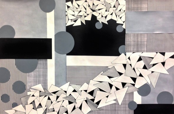 Black, white, and gray paper collage