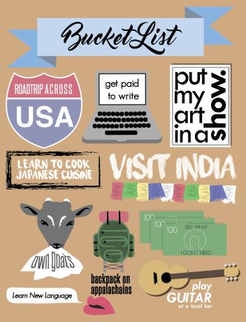 bucket list, graphic design, visual, list