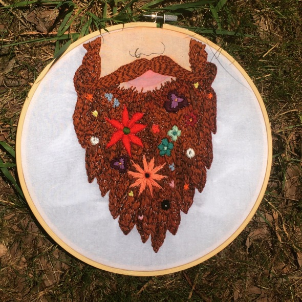 embroidery, beard, string, flowers