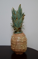 pineapple, ceramic, yellow, green, sculpture