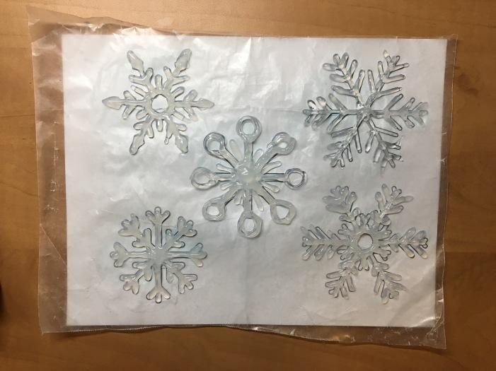 hot glued snowflakes