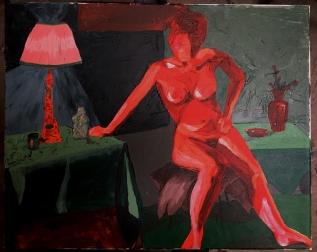 painting, red, gesture