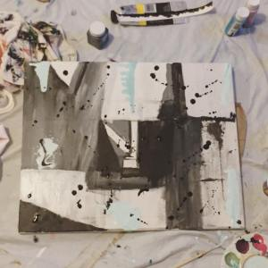 """Grey Areas, Not So Gray"", Abstract Painting"