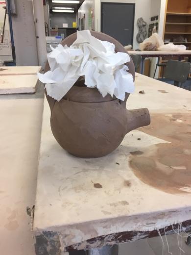 leather hard teapot