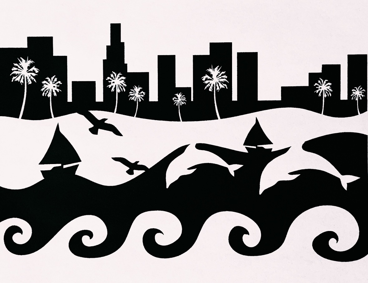 Figure ground reversal design with an ocean scene landscape
