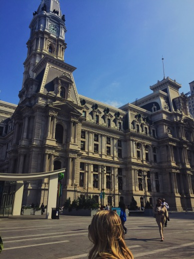 Tall, Historic Philadelphia City Hall building