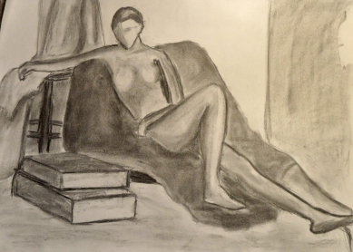 Charcoal drawing. Figure reclining on fabric