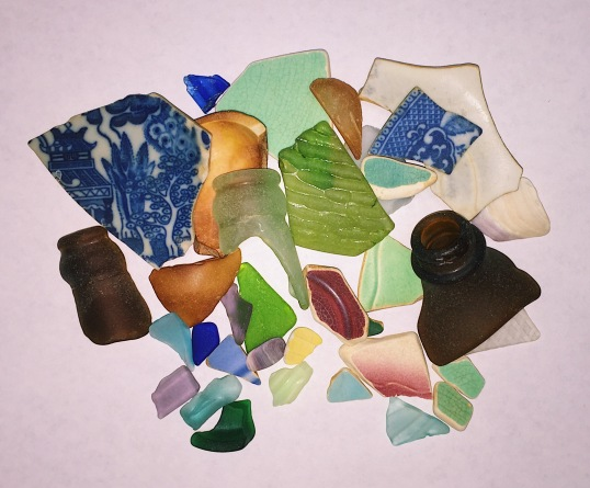 colorful sea glass scattered