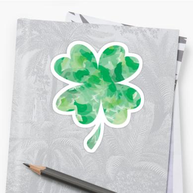 watercolor clover sticker on a folder