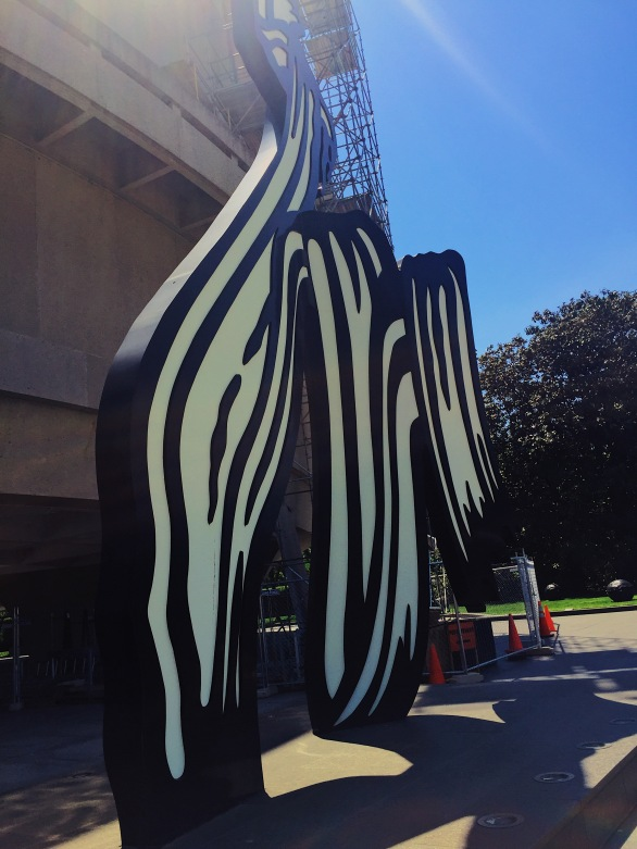 tall abstract black and white sculpture