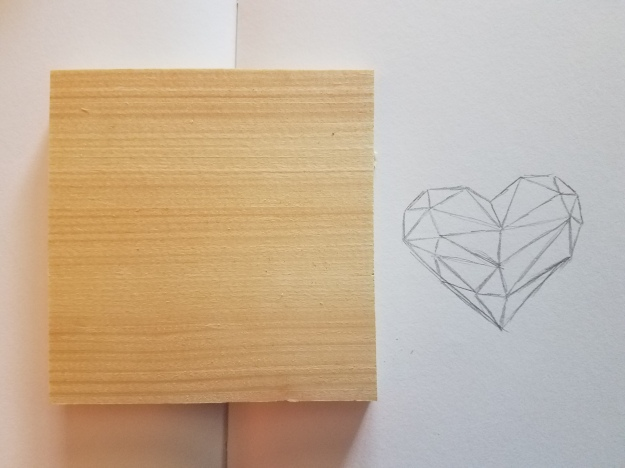 heart sketch and wood