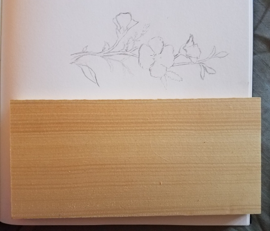 Flower sketch and wood