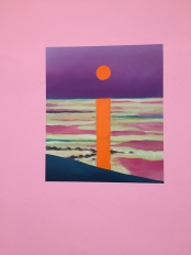 Sunset on orange wall