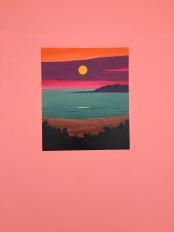 Lake sunset on pink wall