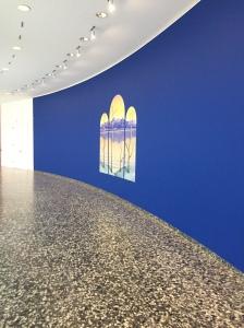 sunset on blue walls