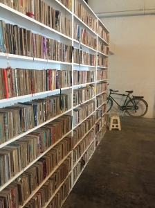 bookshelves with bike