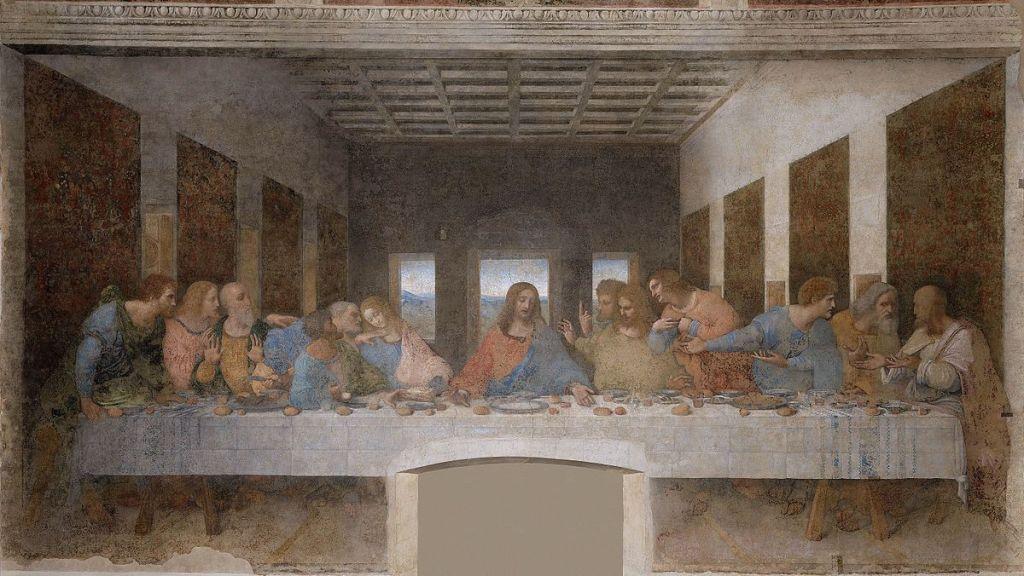 da Vinci's Last Supper, men gathered at a table