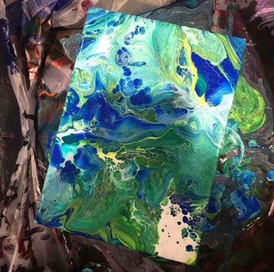 green and blue fluid art