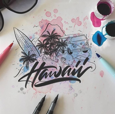 Hawaii written in script with paint splatters