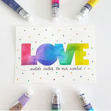 Love in rainbow lettering