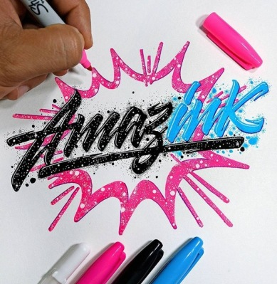 Amazink in pink, black, and blue