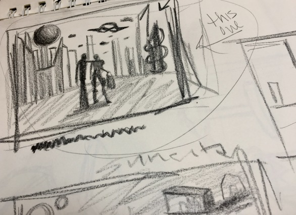 rough thumbnail sketch of a futuristic cityscape