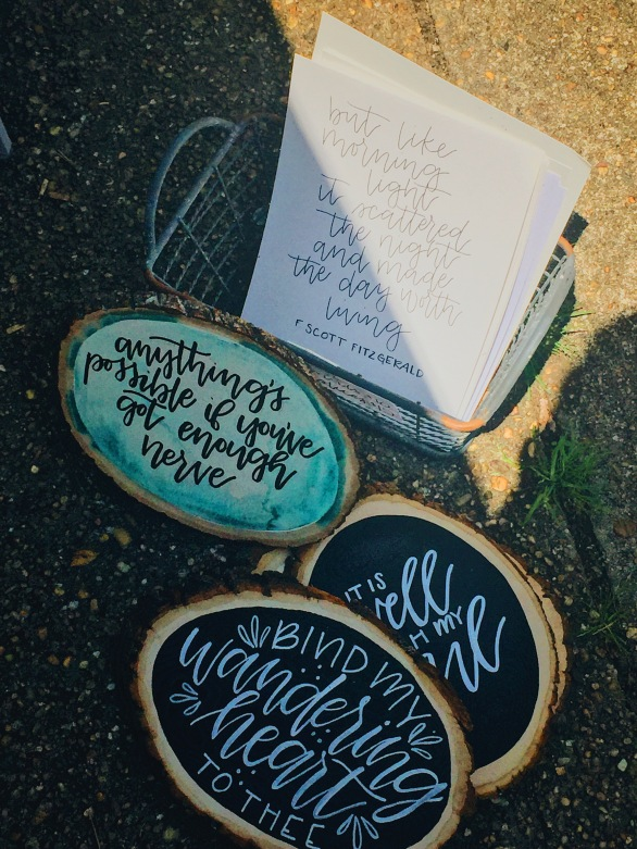 Rose Barbera handlettering on tree stumps