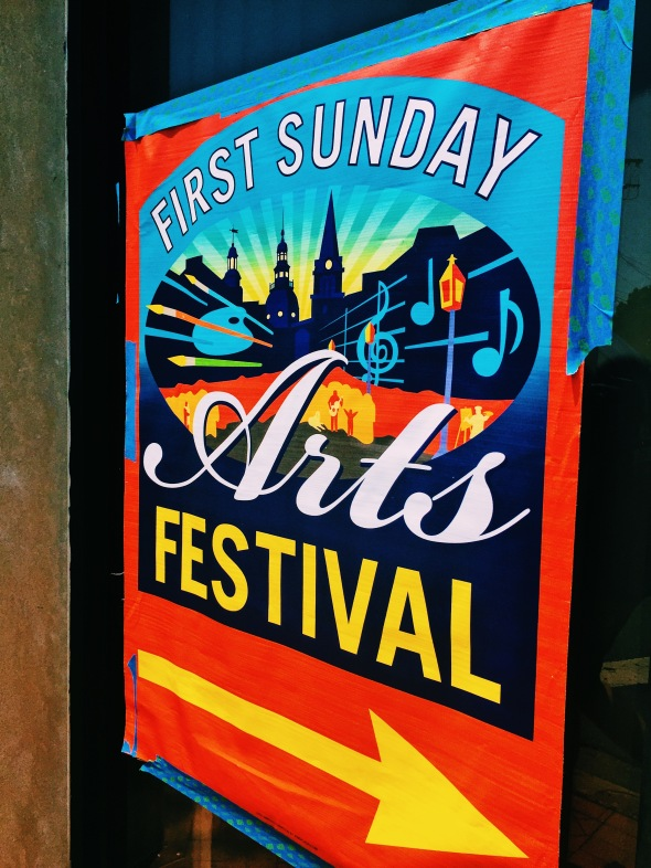 colorful first sunday sign