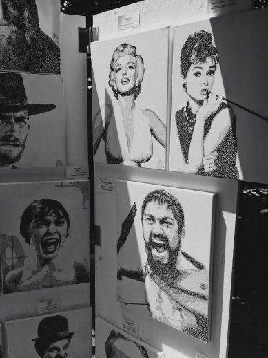 black and white celebrity drawings