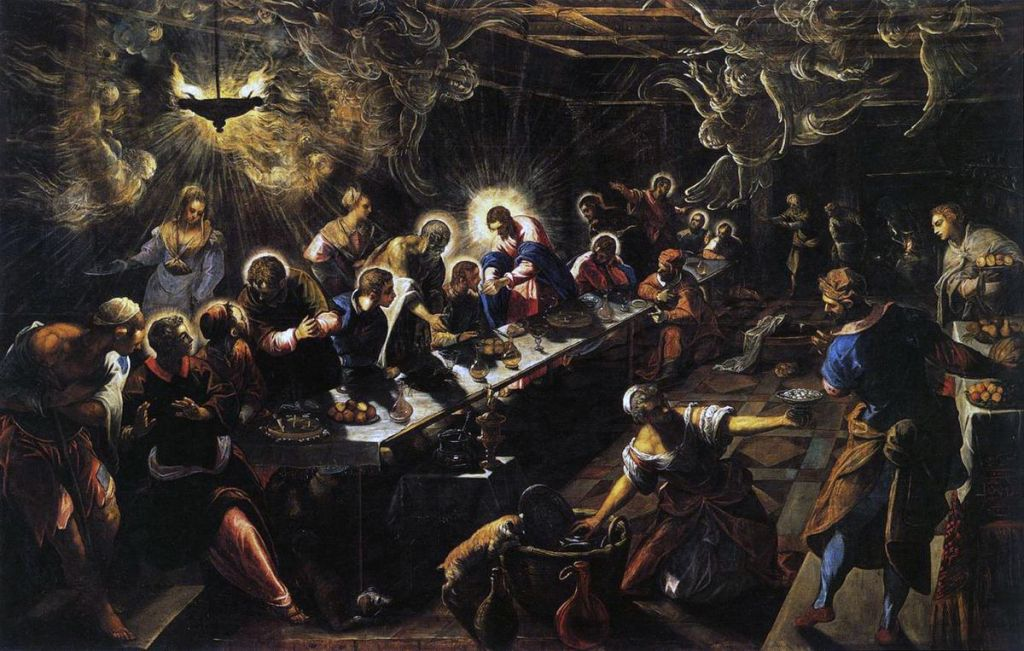 the last supper with light spirits and angels