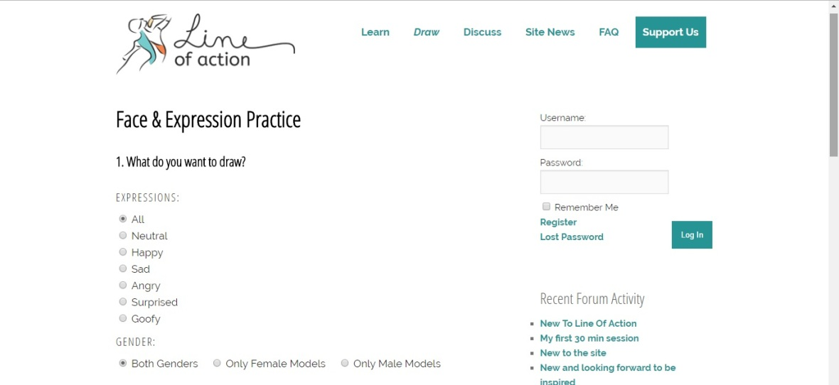 Screenshot of website, Line of Action, showing the options for practice tools