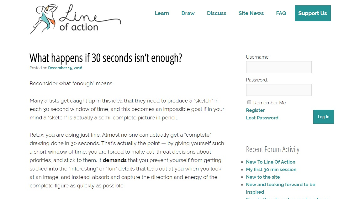 "Screenshot of the website, Line of Action, featuring their ""learn"" section"