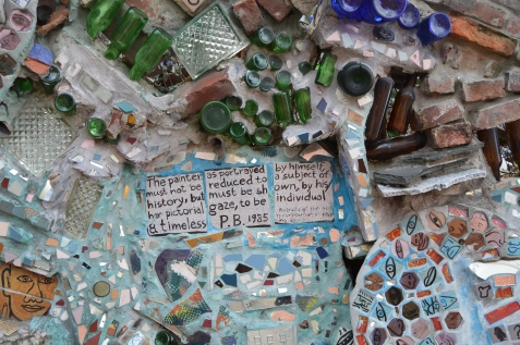 bottles and glass in the cement
