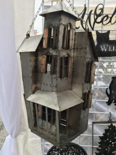 Metal house sculpture