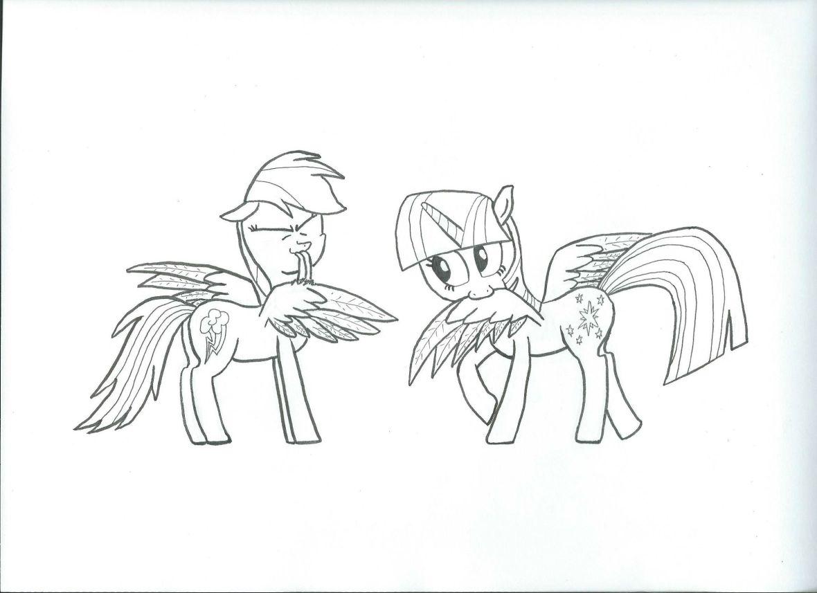 Preening Ponies (ink)