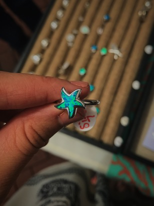 blue opal starfish ring