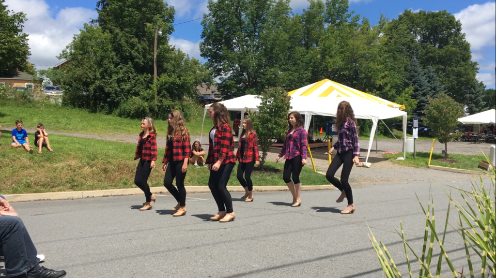 Tap dancers on street performing