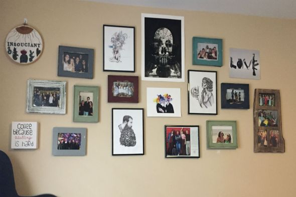 photos and art on wall