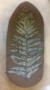 A fern pressed into clay