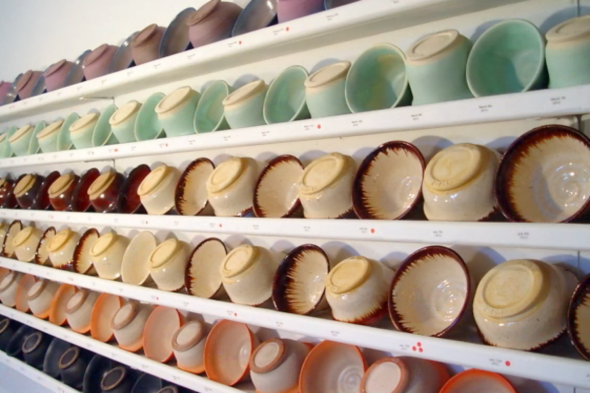ceramic bowls on shelves