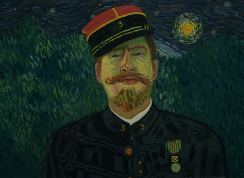 Another frame from the film featuring the background of Starry Night