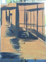 underpainting of hallway scene