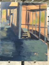 underpainting of hallway scene with slabs of paint over