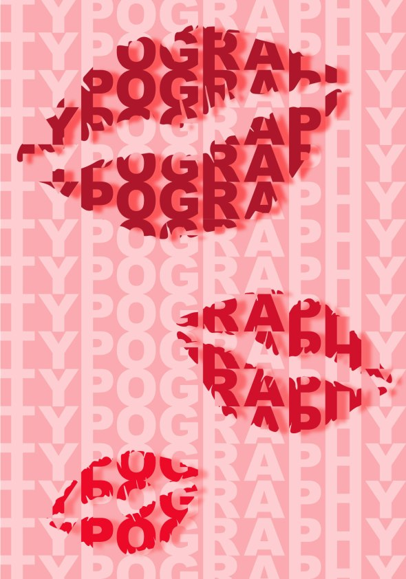 red lips made up of text