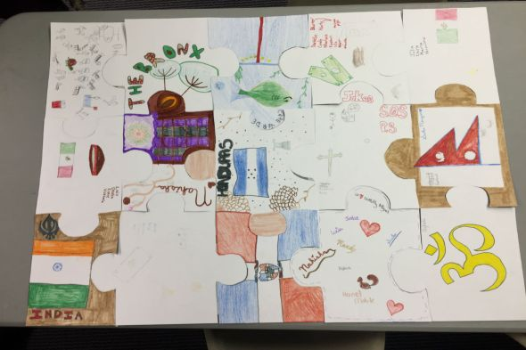 puzzle pieces designed by 7th graders