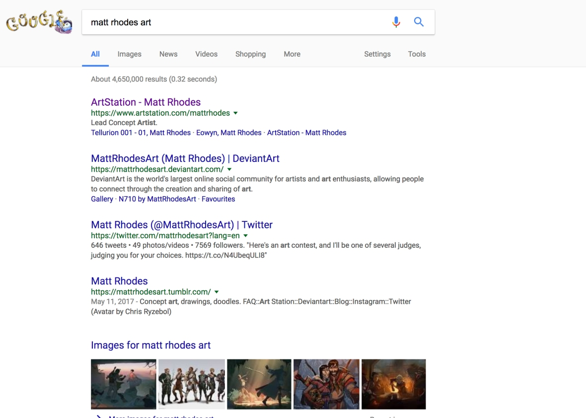 Screen picture of a google search of Matt Rhodes, an artist. It shows all of his accounts right at the top with all the same username.
