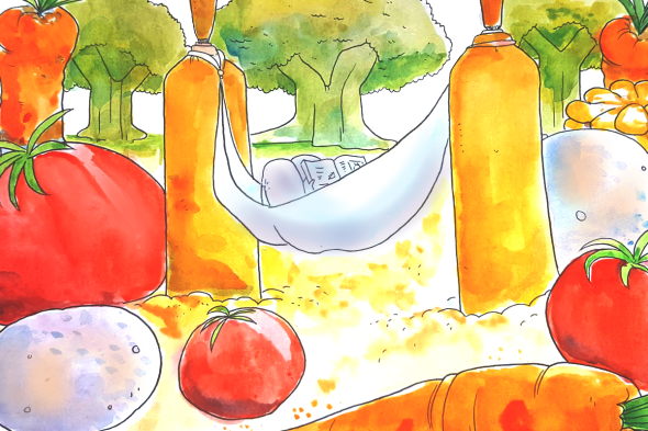 close up of vegetable hammock