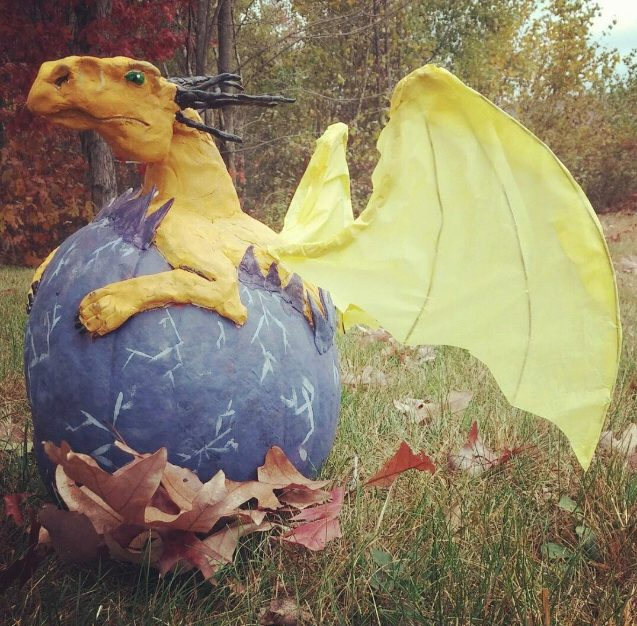 Finished dragon pumpkin!